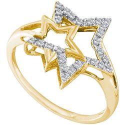 10KT Yellow Gold 0.09CTW DIAMOND FASHION STAR RING