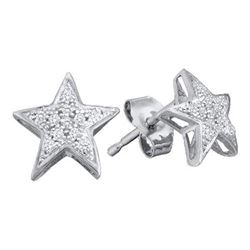 10KT White Gold 0.05CTW DIAMOND MICRO PAVE STAR EARRING