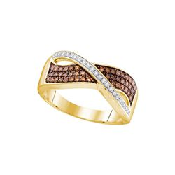 10kt Yellow Gold Womens Round Cognac-brown Colored Diam