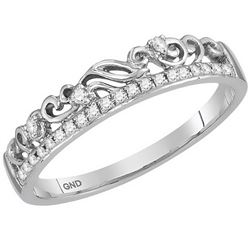 10kt White Gold Womens Round Diamond Floral Accent Stac