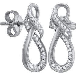 10kt White Gold Womens Round Diamond Infinity Screwback