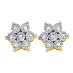 925 Sterling Silver Yellow 0.12CTW DIAMOND FLOWER EARRI