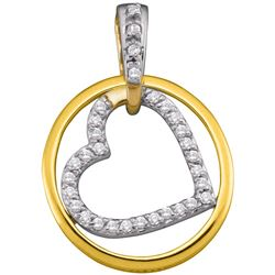 10kt Yellow Gold Womens Round Diamond Circle Nested Hea