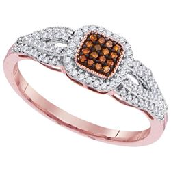 10KT Rose Gold 0.25CTW DIAMOND BROWN RING