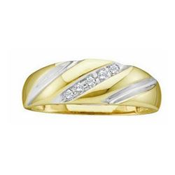 14k Yellow Gold Round Channel-set Natural Diamond Mens