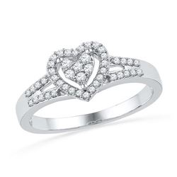 10KT White Gold 0.20CTW DIAMOND FASHION HEART RING