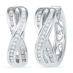 10KT White Gold 0.25CTW DIAMOND FASHION EARRING