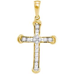 10kt Yellow Gold Womens Round Diamond Roman Cross Relig