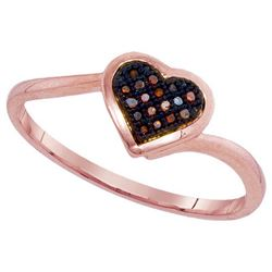 10KT Rose Gold 0.05CTW DIAMOND MICRO-PAVE HEART RING