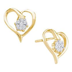 10KT Yellow Gold 0.15CTW DIAMOND HEART EARRINGS