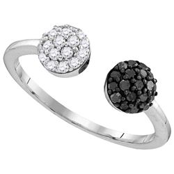Sterling Silver Womens Round Black Colored Diamond Clus