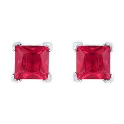 10kt White Gold Womens Princess Lab-Created Ruby Solita