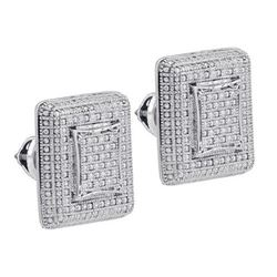 925 Sterling Silver White 0.23CTW DIAMOND MICRO-PAVE EA