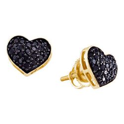 14KT Yellow Gold 0.41CTW BLACK DIAMOND HEART EARRINGS