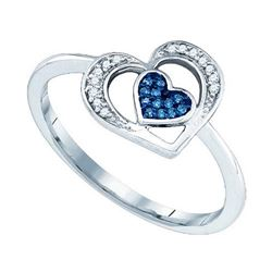 10KT White Gold 0.07CTW DIAMOND MICRO-PAVE HEART RING