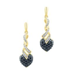 10K Yellow-gold 0.20CTW BLACK DIAMOND FASHION EARRING