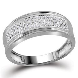 10kt White Gold Mens Round Diamond Triple Row Wedding A