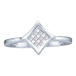 14KT White Gold 0.13CTW PRINCESS DIAMOND LADIES INVISIB