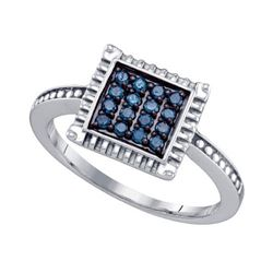 925 Sterling Silver White 0.26CTW BLUE DIAMOND CLUSTER