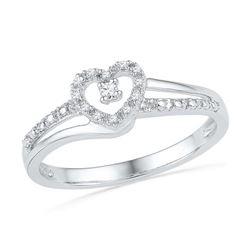10KT White Gold 0.06CTW DIAMOND FASHION HEART RING