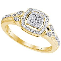 10K Yellow-gold 0.20CTW-Diamond MICRO-PAVE RING
