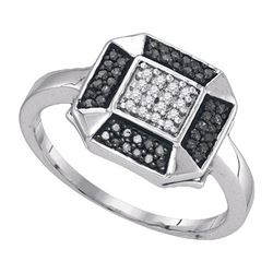 925 Sterling Silver White 0.20CTW DIAMOND FASHION RING