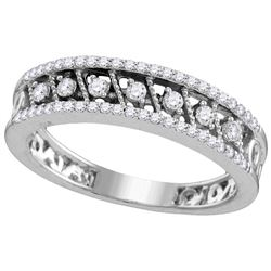 10kt White Gold Womens Round Natural Diamond Milgrain F