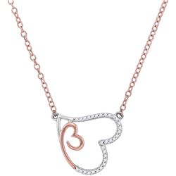 10kt Rose Gold Womens Round Diamond Double Heart Pendan