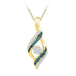 10K Yellow-gold 0.25CTW BLUE DIAMOND FASHION PENDANT