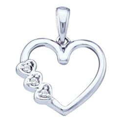10KT White Gold 0.03CTW DIAMOND HEART PENDANT