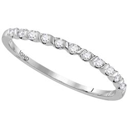 10kt White Gold Womens Round Diamond Single Row Stackab