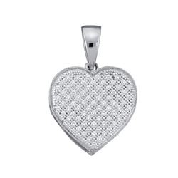 10KT White Gold 0.10CTW DIAMOND LADIES HEART PENDANT