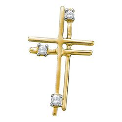 14KT Yellow Gold 0.04CTW DIAMOND CROSS PENDANT