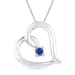 10kt White Gold Womens Round Lab-Created Blue Sapphire