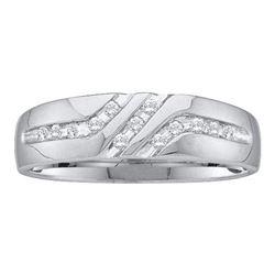 14KT White Gold 0.12CTW ROUND DIAMOND MEN'S FASHION BAN