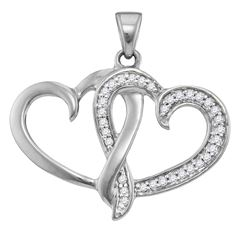 10kt White Gold Womens Round Diamond Double Joined Hear