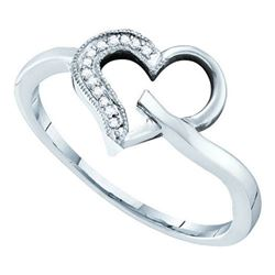 10KT White Gold 0.04CTW DIAMOND HEART RING