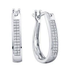 925 Sterling Silver White 0.15CTW DIAMOND MICROPAVE HOO