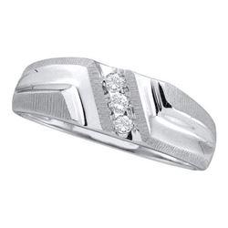 10KT White Gold 0.10CT DIAMOND FASHION MEN'S BAND