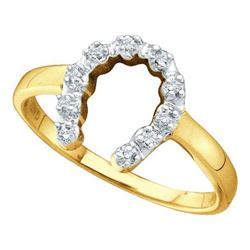 10KT Yellow Gold 0.05CTW DIAMOND LADIES HORSE SHOE RING