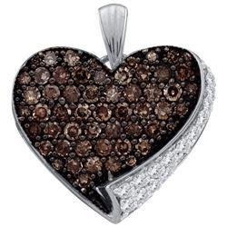 10KT White Gold 0.85CTW COGNAC DIAMOND LADIES HEART PEN