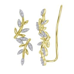 10kt Yellow Gold Womens Round Natural Diamond Floral Cl
