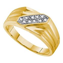 925 Sterling Silver Yellow 0.10CTW DIAMOND FASHION MENS