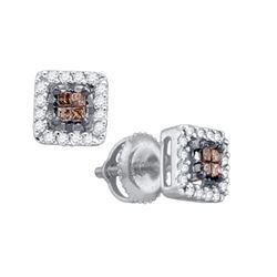 10KT White Gold 0.30CTW COGNAC DIAMOND INVISIBLE EARRIN