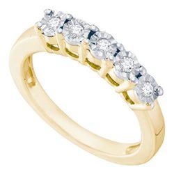 925 Sterling Silver Yellow 0.15CTW DIAMOND FASHION RING