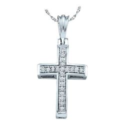 10KT White Gold 0.07CTW DIAMOND CROSS PENDANT