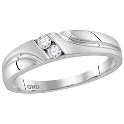 10kt White Gold Mens Round Natural Diamond Wedding Anni
