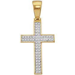 10kt Yellow Gold Mens Round Diamond Small Cross Religio