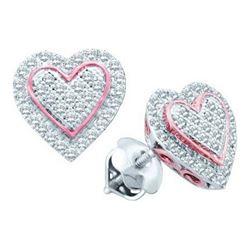 10KT White Gold Two Tone 0.25CTW DIAMOND HEART MICRO PA