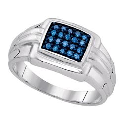 925 Sterling Silver White 0.25CTW-BLUE DIAMOND MENS RIN